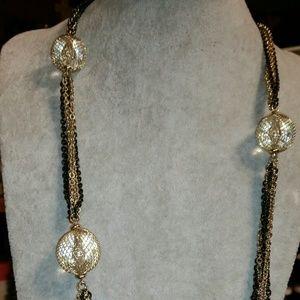 Multi-Chain, Gold & Black, Glass Bauble Station Ne